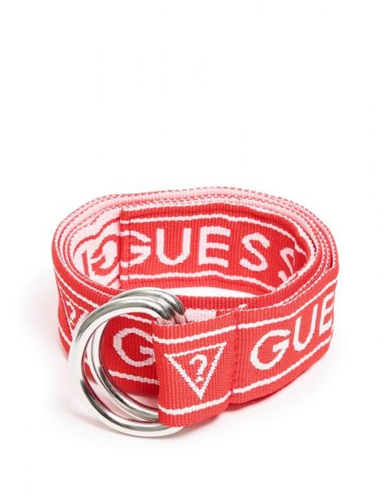 GUESS opasok Logo Woven Belt červený