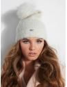 GUESS čiapka Kayla Fuzzy Pom Beanie ivory