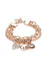 GUESS náramok Rose Gold-Tone Mosaic Logo Charm Bracelet