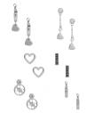 GUESS náušnice Silver-tone Pave Heart Earrings Set