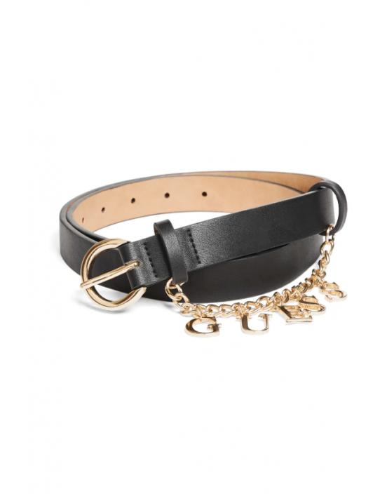 GUESS opasok  Logo Charm Belt čierny