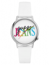 GUESS hodinky Originals Silver-tone And White Analog Watch