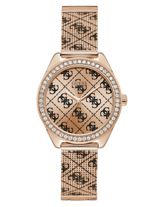 GUESS hodinky Rose Gold-tone Tiled...