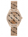 GUESS hodinky Rose Gold-tone Tiled Logo Analog Watch