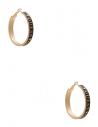 GUESS náušnice Gold-Tone Black Enamel Logo Hoop Earrings