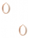GUESS náušnice Rose Gold-Tone White Enamel Logo Hoop Earrings