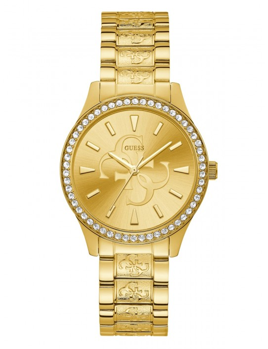 GUESS hodinky Gold-Tone Quattro G...