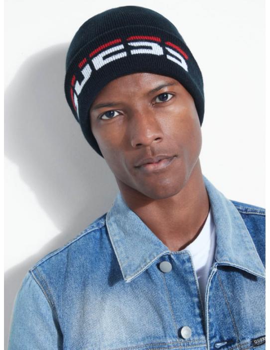 GUESS čiapka Logo Beanie čierna