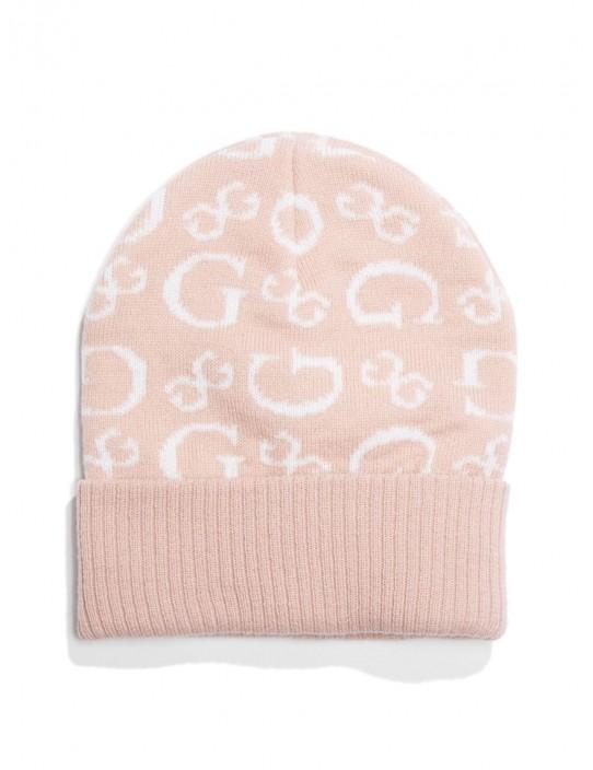 GUESS čiapka Allover Logo Beanie pink