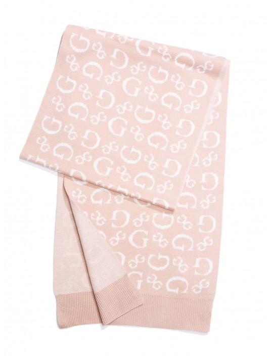 GUESS šál Allover Logo Scarf pink