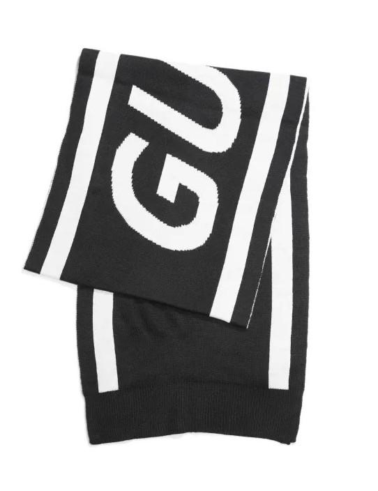 GUESS šál Collegiate Logo Scarf čierny