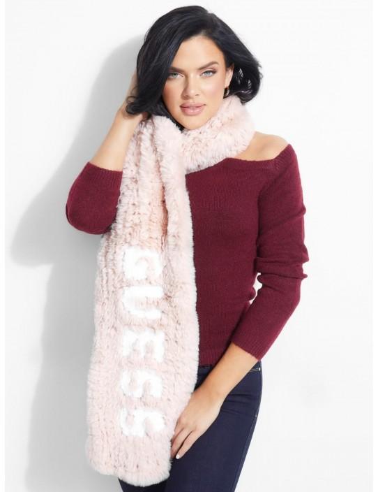 GUESS šál  Faux-Fur Logo Scarf pink