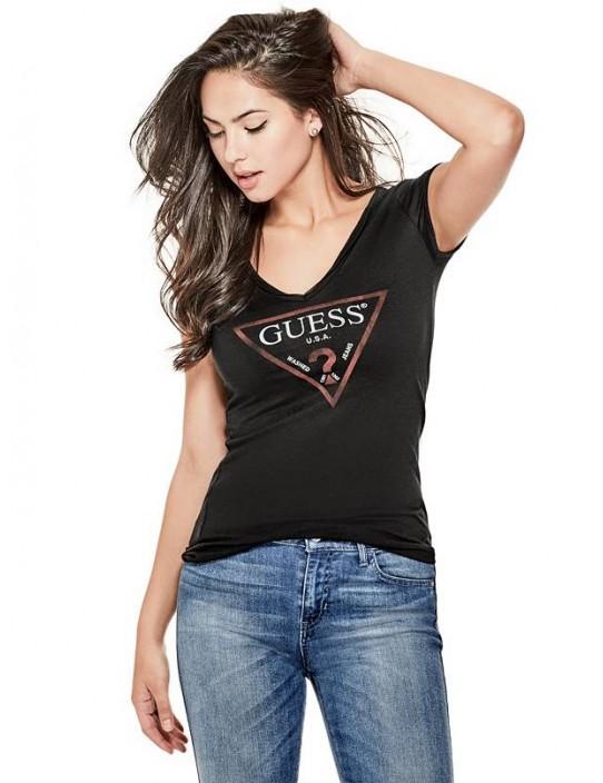 GUESS tričko Logo V-Neck Tee čierne