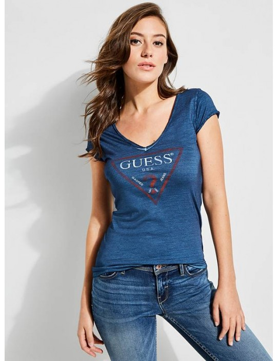 GUESS tričko Logo V-neck Tee modré