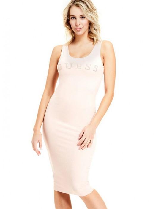 GUESS šaty Nivella Logo Midi Dress pink