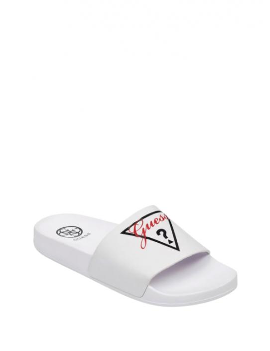 GUESS žabky Sofia Logo Pool Slides biele
