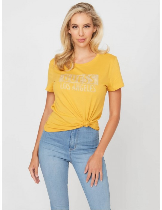 GUESS tričko Rexi Studded Logo Tee žlté