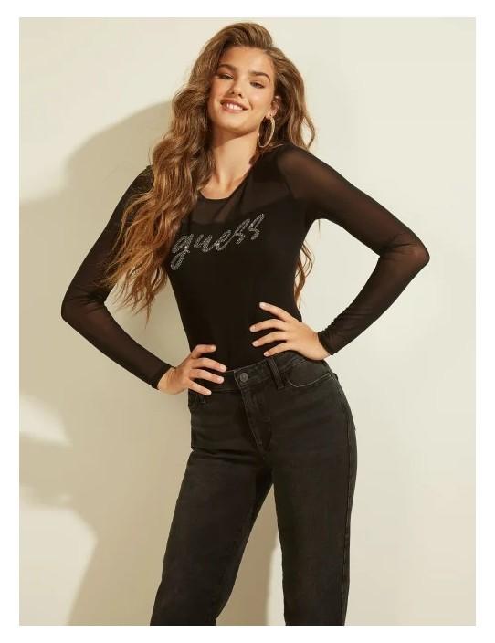 GUESS top Mesh Mix Logo Sweater čierny