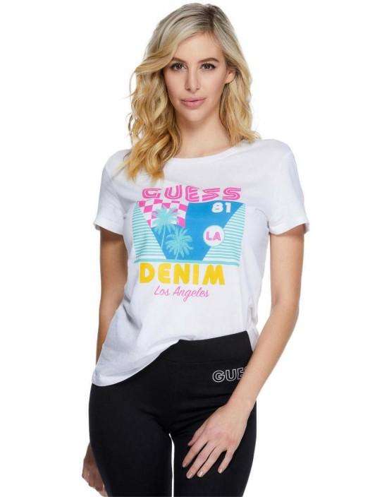 GUESS tričko Lexi Graphic Logo Tee biele