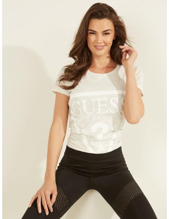 GUESS tričko Logo Crew Tee sivé