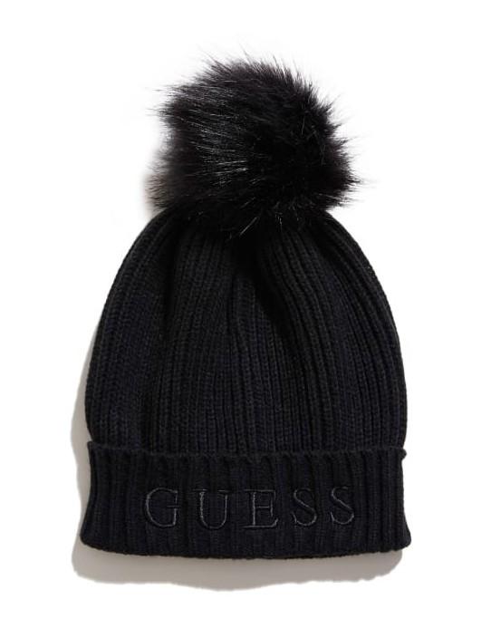 GUESS čiapka Pom Logo Beanie čierna