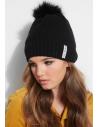GUESS čiapka Faux-Fur Pom Knit Beanie čierna