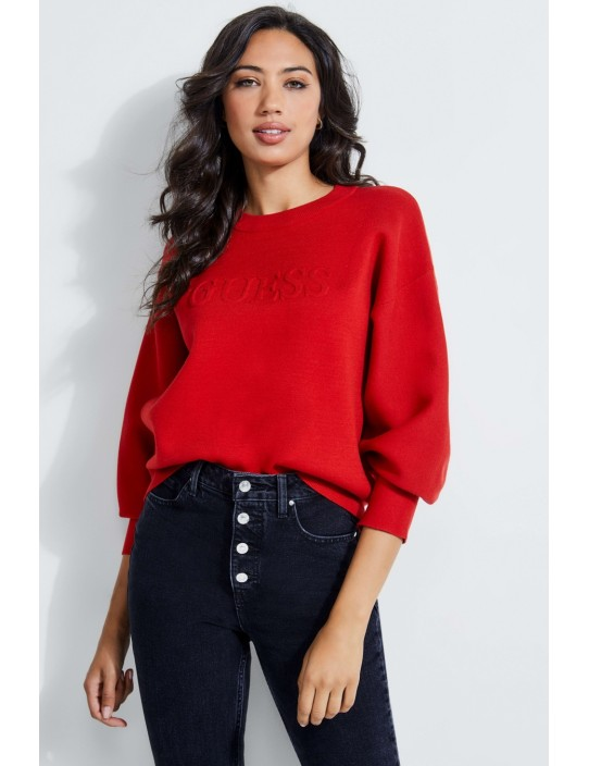 GUESS pulóver Logo-Embossed Pullover...