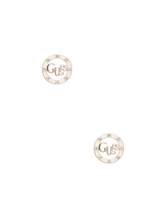GUESS náušnice Rose Gold-Tone Logo...