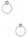 GUESS náušnice Silver-tone Logo Button Door Knocker Earrings