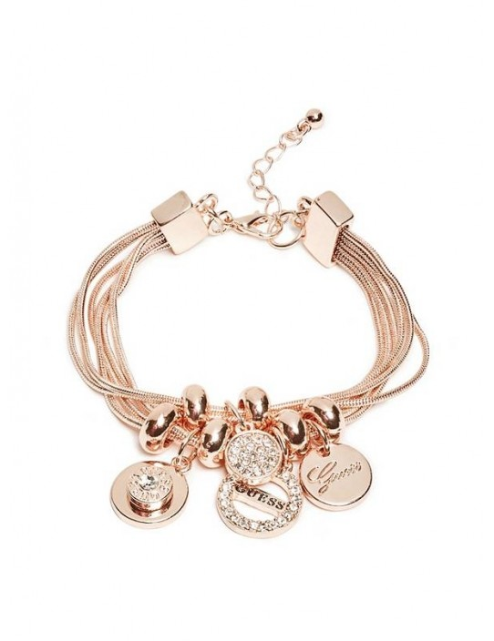 GUESS náramok Rose Gold-Tone Charm...