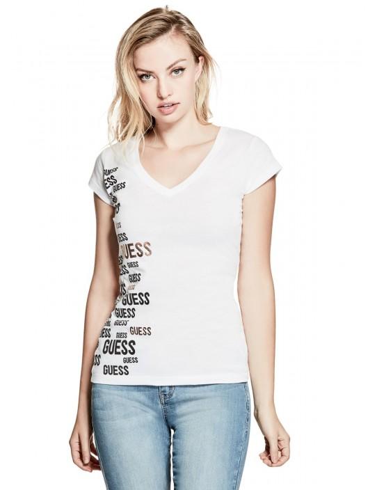 Guess tričko Raylee Logo Tee biele