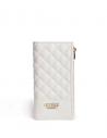 Outlet - GUESS peňaženka Hailey Quilted Double-Zip Wallet biela