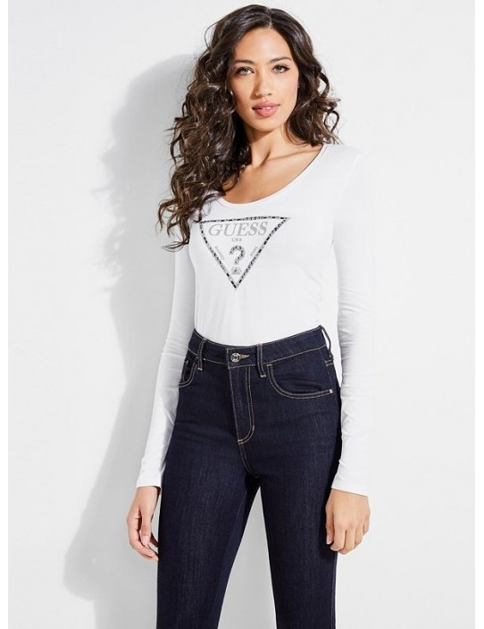 GUESS top Embellished Logo Tee biely